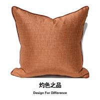 爱马仕橙条纹绸缎抱枕古典软装沙发靠垫软包靠枕套