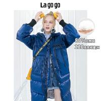【年终狂欢节两件四折/叠满200-10优惠�弧�Lagogo2019冬季宝蓝色外套中长款保暖修身连帽羽绒服女HCYY33