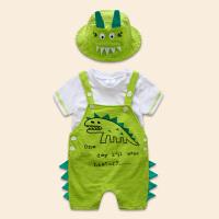 夏款童装宝宝纯棉短袖背带裤三件套婴儿恐龙休闲可爱外出服套装潮