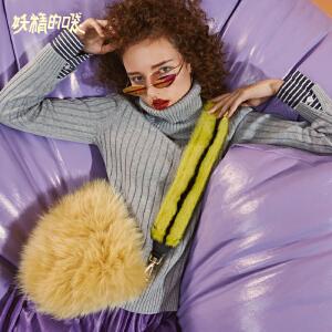 【尾品汇大促】妖精的口袋Y短款长袖套头毛衣女秋装2018新款纯色百搭高领针织衫