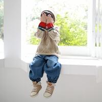 2019 韩版时尚宽松牛仔裤童装牛仔裤秋冬中小童童装裤子 蓝色