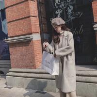 毛呢外套女冬2018韩版新款流行中长款小个子双面仿水呢子大衣 均码