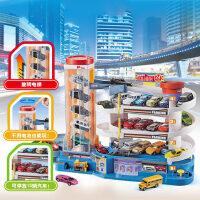 儿童小汽车大楼旋转轨道停车场智力动脑儿童益智轨道车男孩子玩具