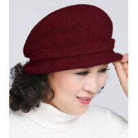 秋冬季女士羊毛帽子时尚带钻雷帽渔夫帽妈妈帽中年女帽
