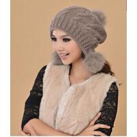 女生冬天保暖甜美可爱大狐狸毛球兔毛帽子 针织毛线帽