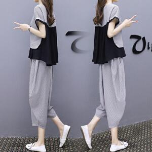 哆哆何伊黑色休闲时尚运动套装女2018夏装新款欧洲站宽松显瘦阔腿裤两件套