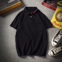 夏季刺绣POLO衫男宽松大码宽松短袖T恤韩版青年半袖潮流200斤男