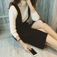 2018初秋新款韩版毛呢背心连衣裙女中长款冬季背带裙子气质森女系