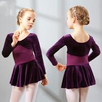 儿童舞蹈服女童长袖练功服幼儿秋冬芭蕾舞裙少儿连体考级体操服棉