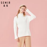 森马毛衣女冬季针织衫高领修身打底衫学生纯色竖条显瘦潮