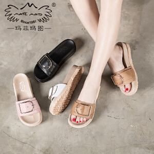 玛菲玛图拖鞋女夏时尚外穿百搭厚底一字凉鞋2018夏季方扣真皮粉色凉拖鞋潮M1981815CT17