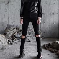 新款韩版潮流个性另类膝盖割烂破洞牛仔裤男修身小脚裤帅t乞丐裤