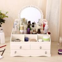 多功能桌面木制化妆品收纳盒首饰盒木盒子特大号抽屉式储物柜