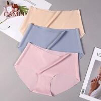 骆驼3条冰丝无痕内裤女一片式纯棉档性感透气三角内裤