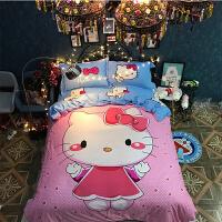 棉卡通床上用品凯蒂猫四件套公主风儿童宿舍床单人被套三件套