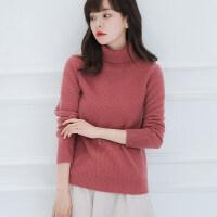秋冬羊绒衫套头高领毛衣女士短款色加厚针织打底衫宽松