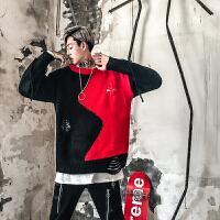 新款18秋冬男士潮流红黑撞色圆领套头针织衫韩版英伦宽松青年休闲