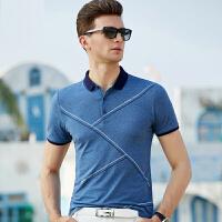 2019夏季新款商务中年男士短袖t恤 翻领时尚印花短袖t恤男