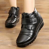 真皮短靴女棉靴女妈妈鞋加绒2018秋冬新款圆头短筒系带棉靴中老年防滑保暖女靴6628SY