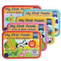儿童拼图大块木质积木玩具 男女孩宝宝34周岁铁盒拼图
