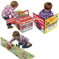 进口原版 Fire Engine 变形消防车 儿童折叠立体地板冒险玩具童书 大开本