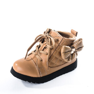 SHOEBOX/鞋柜冬季女童鞋可爱蝴蝶结中筒靴子加绒保暖防滑女孩棉鞋