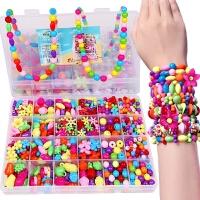 儿童手工制作串珠玩具女孩穿珠子手链项链diy材料包礼物益智玩具