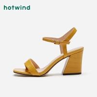 热风潮流时尚女士凉鞋一字扣带粗高跟鞋女H56W9227