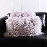 羊毛沙发靠垫羊毛靠垫抱枕自然卷羊毛整张滩羊皮长毛绒抱枕