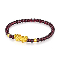 黄金貔貅石榴石手链男女款3D硬金珠路路通手串红黑玛瑙碧玉款