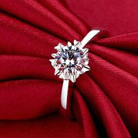 1克拉钻戒钻石戒指女情侣对戒银镀铂金白金戒指