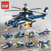 启蒙儿童益智拼图军事飞机坦克兼容乐高积木拼装玩具男孩智力动脑