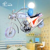 祺家 现代简约LED吊灯酷炫儿童房创意摩托车灯饰KD06 配送光源
