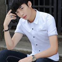 夏季新款男士短袖�r衫�n版修身�W生百搭�色休�e薄款白色�r衣