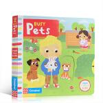 顺丰发货 Busy系列 英文原版绘本 Busy Pets 忙碌的宠物 趣味推拉转机关操作书玩具纸板书 儿童启蒙英语 亲