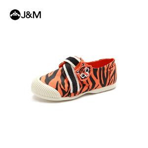 jm快乐玛丽儿童鞋2017春季新品低帮魔术贴套脚舒适男女童鞋帆布鞋