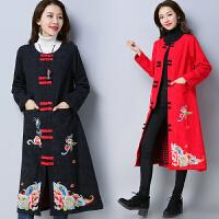 长款风衣2018春装新款民族风女装长袖绣花单排扣宽松有里衬外套