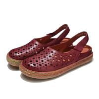 原创手工真皮女鞋复古文艺洞洞鞋包头镂空平跟休闲女凉鞋