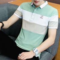 男士短袖T恤翻领POLO衫青少年韩版有带领子体恤衫潮流衣服