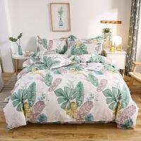 伊迪梦家纺 全棉活性简约时尚三四件套床单/床笠式床上用品 高支高密纯棉面料单双人床型LK512