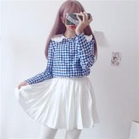 日系软妹可爱娃娃领拼接格子长袖衬衫女学生显瘦百搭衬衣打底衫潮