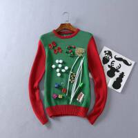 秋冬女韩版圆领常规 创意装饰长袖时尚 套头毛衣女圣诞上装B35\41