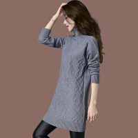 高领长款毛衣女羊绒衫米色针织连衣裙韩版打底秋冬毛衣裙