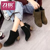 ZHR真皮短靴女粗跟马丁靴英伦风单靴蝴蝶结女靴子2018冬季新款