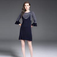 欧美秋冬新款喇叭袖吊带套装条纹针织连衣裙显瘦减龄两件套女