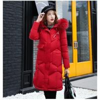 韩版时尚百搭羽绒服女2018中长款冬季加厚外套面包服毛领棉衣
