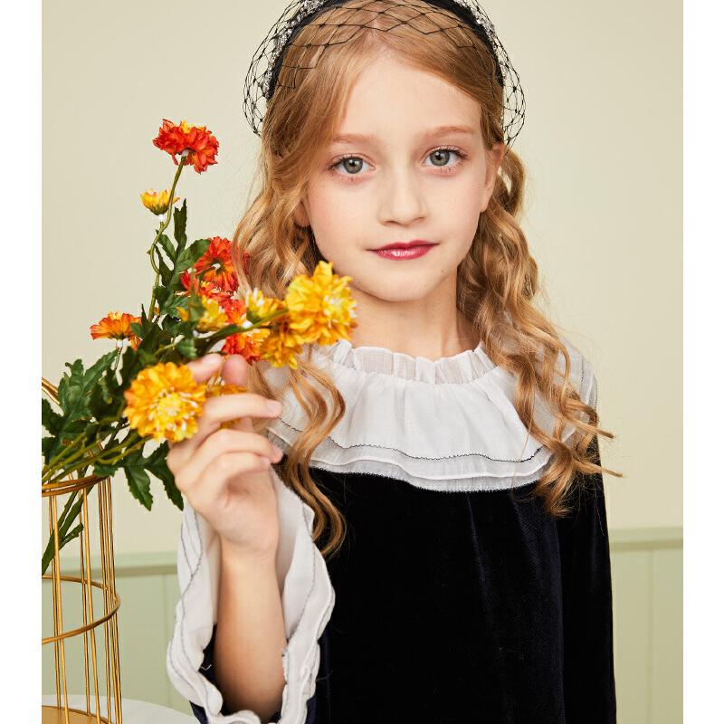 【2件2.5折:79元】souhait水孩儿童装秋季新款女童长袖连衣裙时尚复古丝绒连衣裙儿童连衣裙