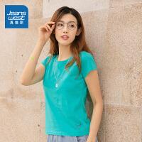 真维斯女装 2020夏装新款 印花圆领短袖T恤