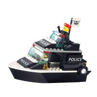 积木 特警/巡逻艇船 拼插拼插玩具