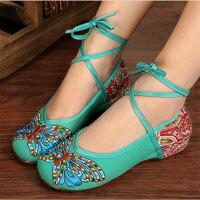 新款传统民族风女鞋汉服鞋子内增高牛筋软底绣花布鞋广场舞鞋